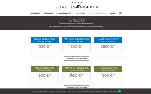 Atelier du Web - Chalets Aravis 2- Tarifs